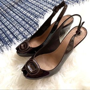 Clark's Peep toe wedge heel patent leather brown